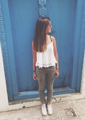 top tank top white top white tank top lace top jeans kaki pants denim shoes converse white converse summer top summer outfits blouse white blouse
