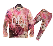 sweater,dior,dior and roses,roses,joggers,chic,sporty