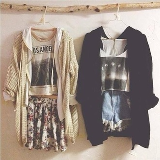 shirt grunge t-shirt skirt hipster top grunge floral crop tops cardigan shorts