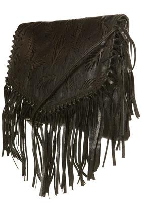 Black leather lazer cut fringed bag