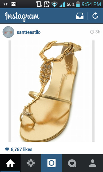 leaf gold shoes sandals