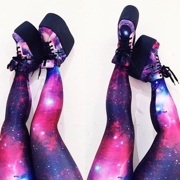 shoes leggings platform shoes style galaxy shoes