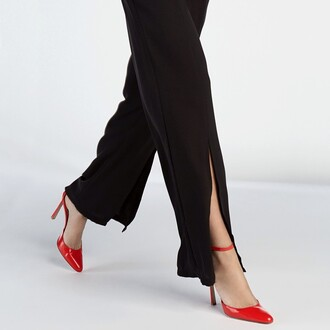 pants slit pants black black pants minimalist slit chiffon saul
