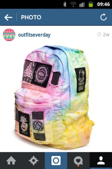 bag colorful multicolor symbols rucksack