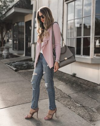 the teacher diva blogger sweater cardigan tank top pants shoes bag jewels sunglasses fall outfits shoulder bag sandals high heel sandals