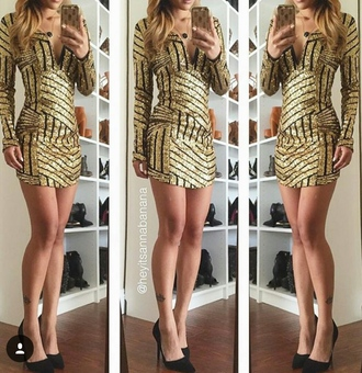 dress gold black new year's eve deep v dress