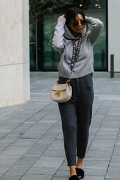 top,tumblr,hoodie,grey hoodie,pants,track pants,shoes,furry shoes,bag,nude bag,crossbody bag,sunglasses