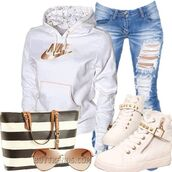 sweater,jeans,shoes,coat,bag,where to get theses shoes,nike sweater,white,gold lettering