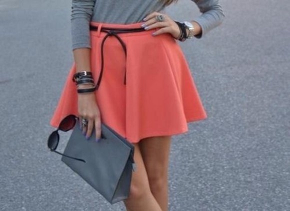 skirt neon orange pink rosy girly