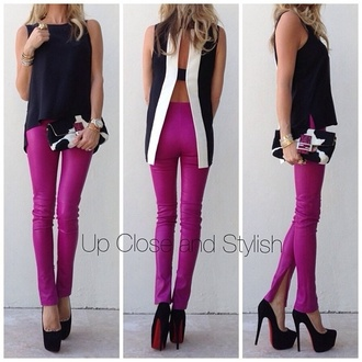 shirt cami camisole black top black and white black white top pants purple magenta jeans blouse