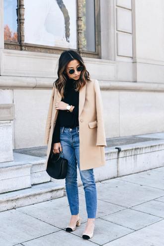 crystalin marie blogger jeans shoes bag sunglasses jewels beige coat handbag mid heel pumps