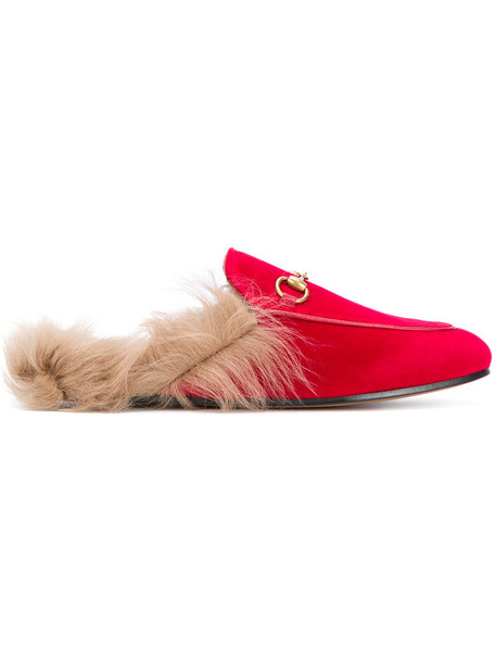 gucci fur women mules leather red shoes