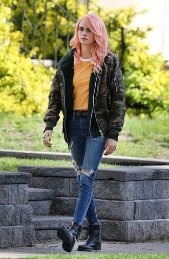jacket jeans bomber jacket cara delevingne top