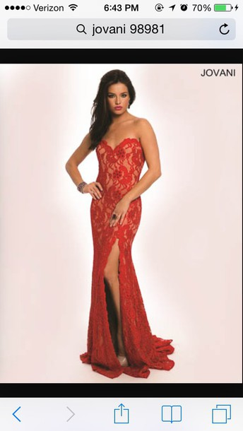 dress red lace sweetheart neckline jovani