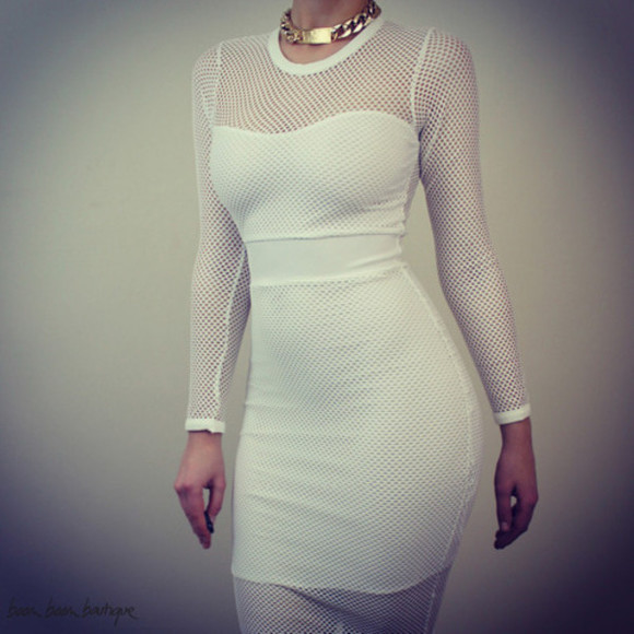 white long sleeve see through dress white dress midi dress white bodycon dress