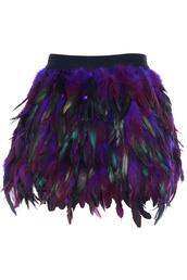 skirt,Victoriaswing,mini,feather skirt,feather dress,purple