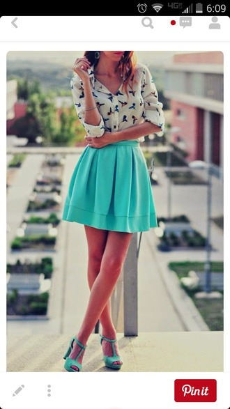 skirt turquoise skirt skater skirt turquoise light blue