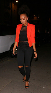 jacket,top,black pants,sandals,shoes,leigh-anne pinnock