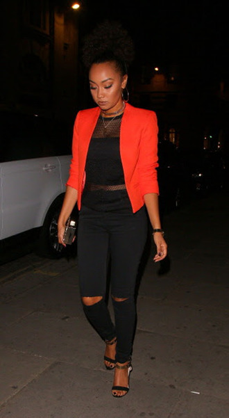 jacket top black pants sandals shoes leigh-anne pinnock