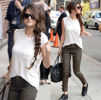 jeans selena gomez ariana grande justin bieber green jeans black jeans jeans leather leather jeans pants green pants black pants green leather pants high waisted jeans skinny jeans leather pants shirt white shirt white pocket shirt sleeveless shirt half sleeve shirt taylor swift dress selena gomez dress selena gomez tops crop tops