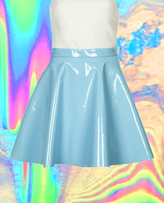 Pastel galaxy neon hologram holographic skater skirt from mola_mola on storenvy