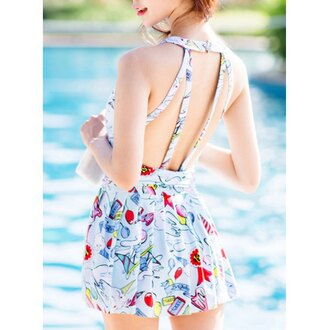romper rose wholesale summer outfits cute cute dress summer dress girly backless beach