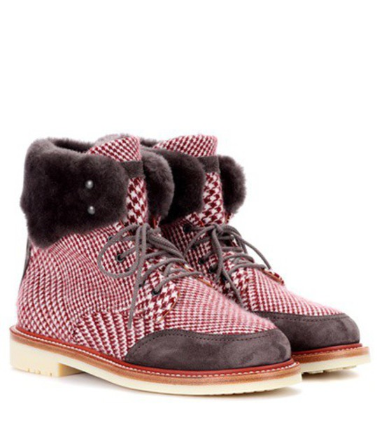 Loro Piana ankle boots red shoes