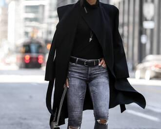 coat black coat top black top jeans black jeans belt black belt
