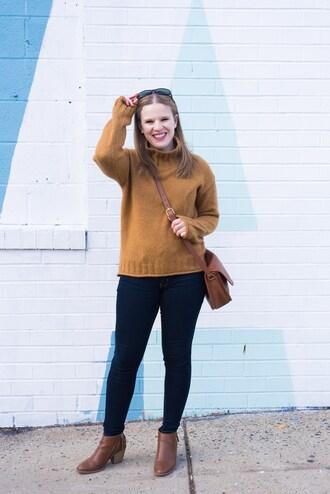 somethinggood blogger sweater jeans shoes bag celebrity crossbody bag orange sweater