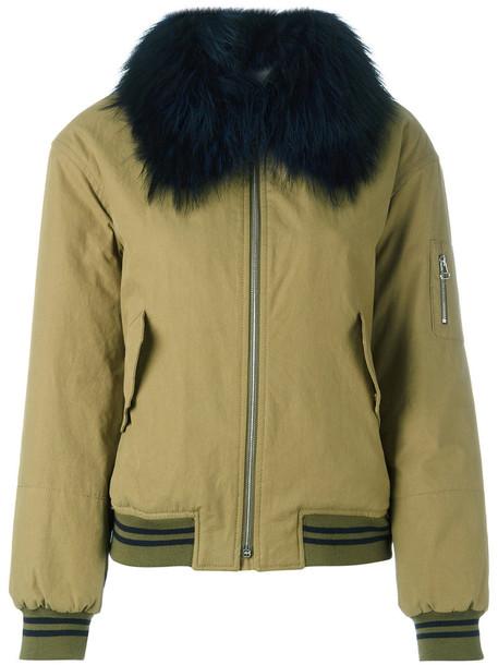 Army Yves Salomon - bomber jacket - women - Cotton/Polyester/Marmot Fur - 40, Green, Cotton/Polyester/Marmot Fur
