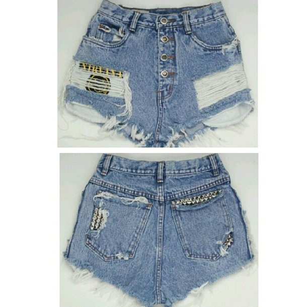 Shorts fashion nirvana cut off shorts ripped shorts denim shorts grunge soft grunge ...