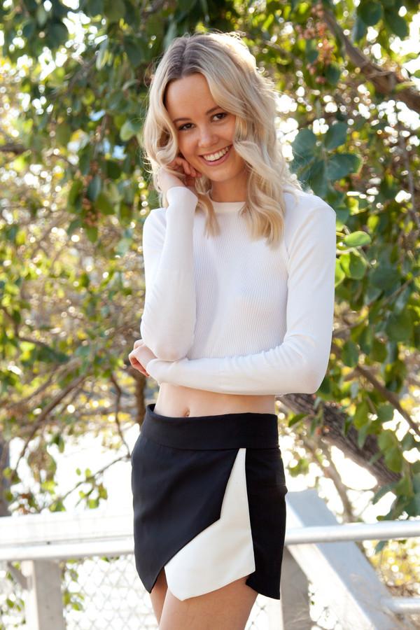 shirt white knit long sleeves top crop tops winter outfits cute ribbed skorts black shopfashionavenue shorts