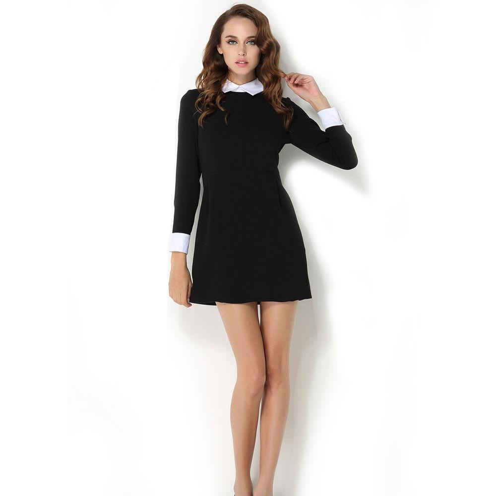 c45ddde5200 New Women s Elegant Spring Autumn Black Peter pan Collar Long Sleeve Slim  Dress