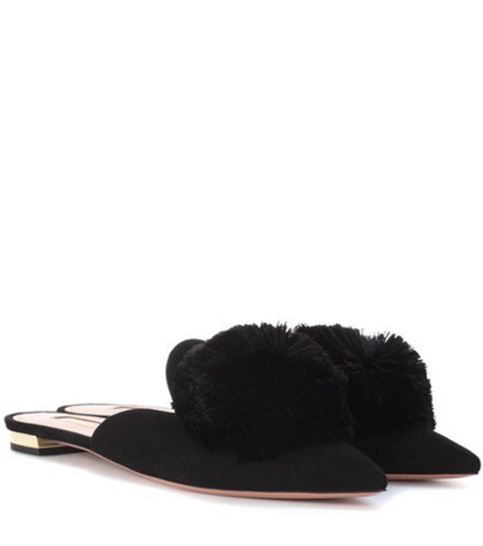 Aquazzura slippers suede black shoes