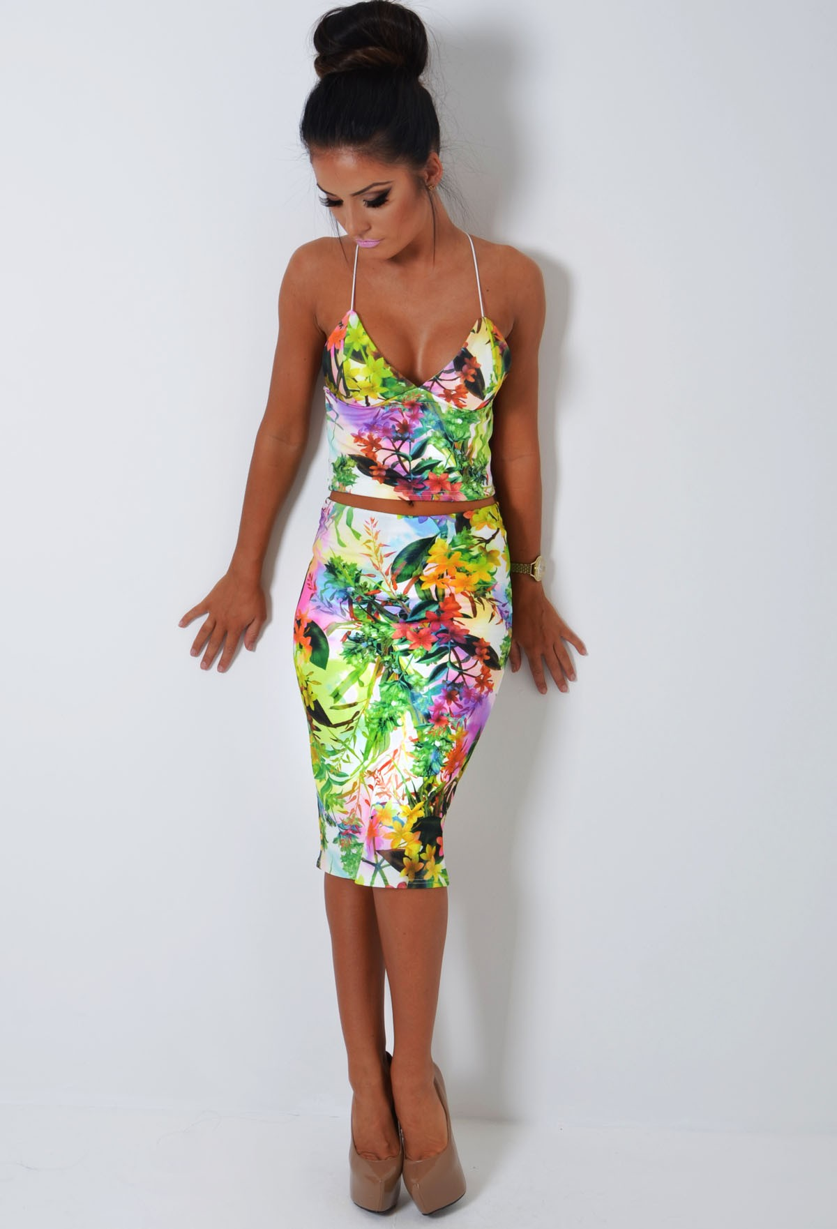 Multicolour Tropical Floral Bodycon Midi Skirt | Pink Boutique
