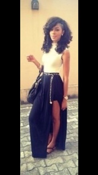 Skirt: maxi skirt, long skirt, black shirt, black skirt, slit ...