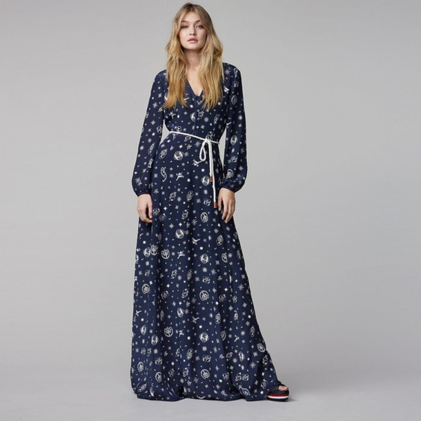 dress maxi dress fall outfits fall dress gigi hadid model tommy hilfiger long sleeve dress floral dress floral