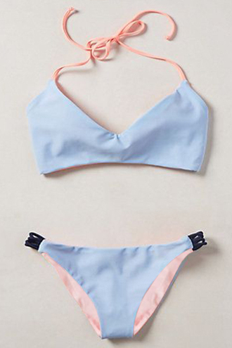 swimwear blue bikini fashion pink beach trendy cool