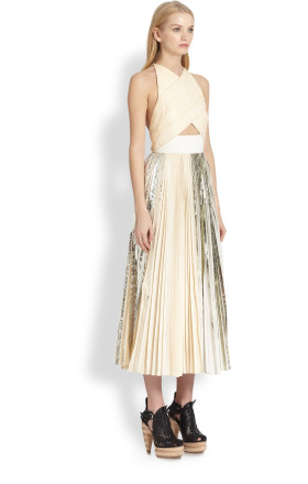 Proenza schouler foilprint pleated crossover dress in beige (white multi)
