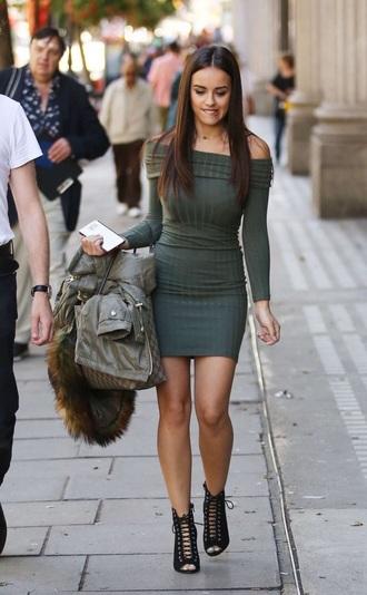 dress off the shoulder dress bodycon dress green dress long sleeve dress