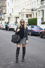 camila carril,blogger,sunglasses,knitwear,dress,grey,quilted,thigh high boots,leather bag,scarf,knitted dress,knitted mini dress