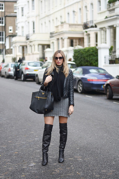 grey blogger leather bag thigh high boots dress scarf sunglasses camila carril knitwear quilted