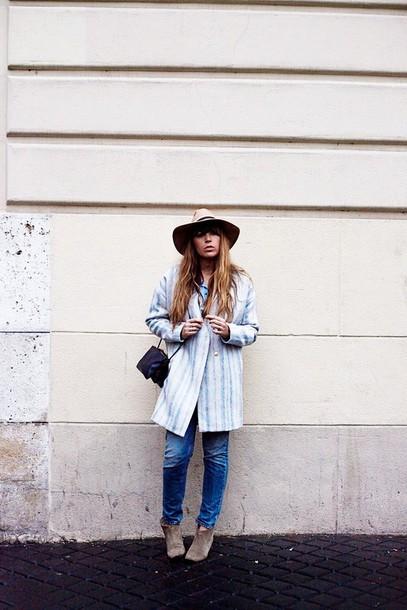 fringe and frange blogger jeans coat hat shoes shirt jewels