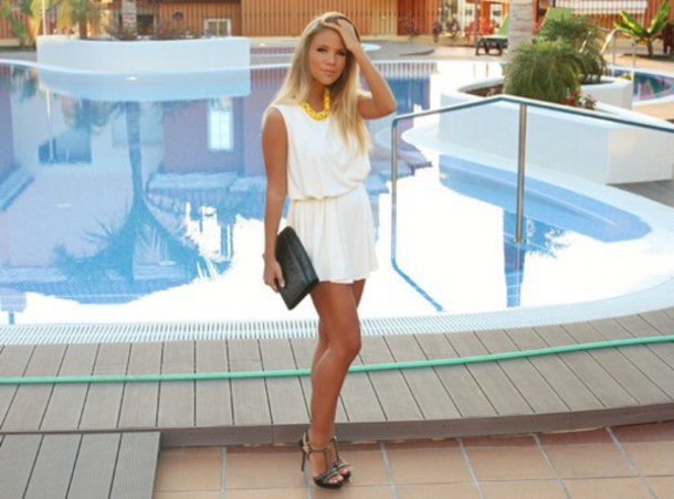 dress fashion white dress short dress white short dress summer dress