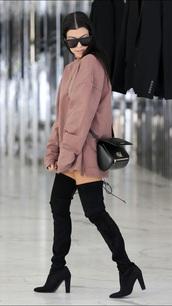 sweater,sweater dress,kourtney kardashian,sunglasses,boots,thigh high boots,black boots,shoes,oversized sweater,dusty pink,dress,nude