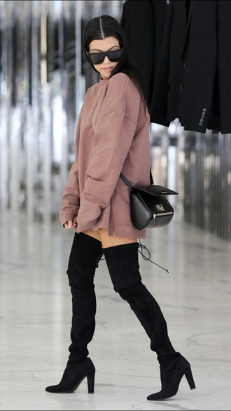 sweater sweater dress kourtney kardashian sunglasses boots thigh high boots black boots shoes oversized sweater dusty pink dress nude