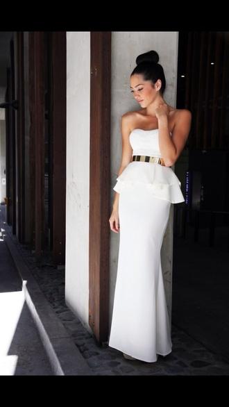 dress white dress peplum dress white peplum dress evening dress