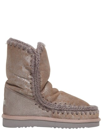 shearling boots metallic boots 24 beige shoes
