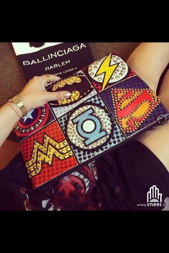 superman batman wonder woman dope studs pouch pop art bag