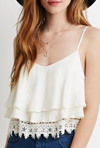 blouse lace cami ruffle